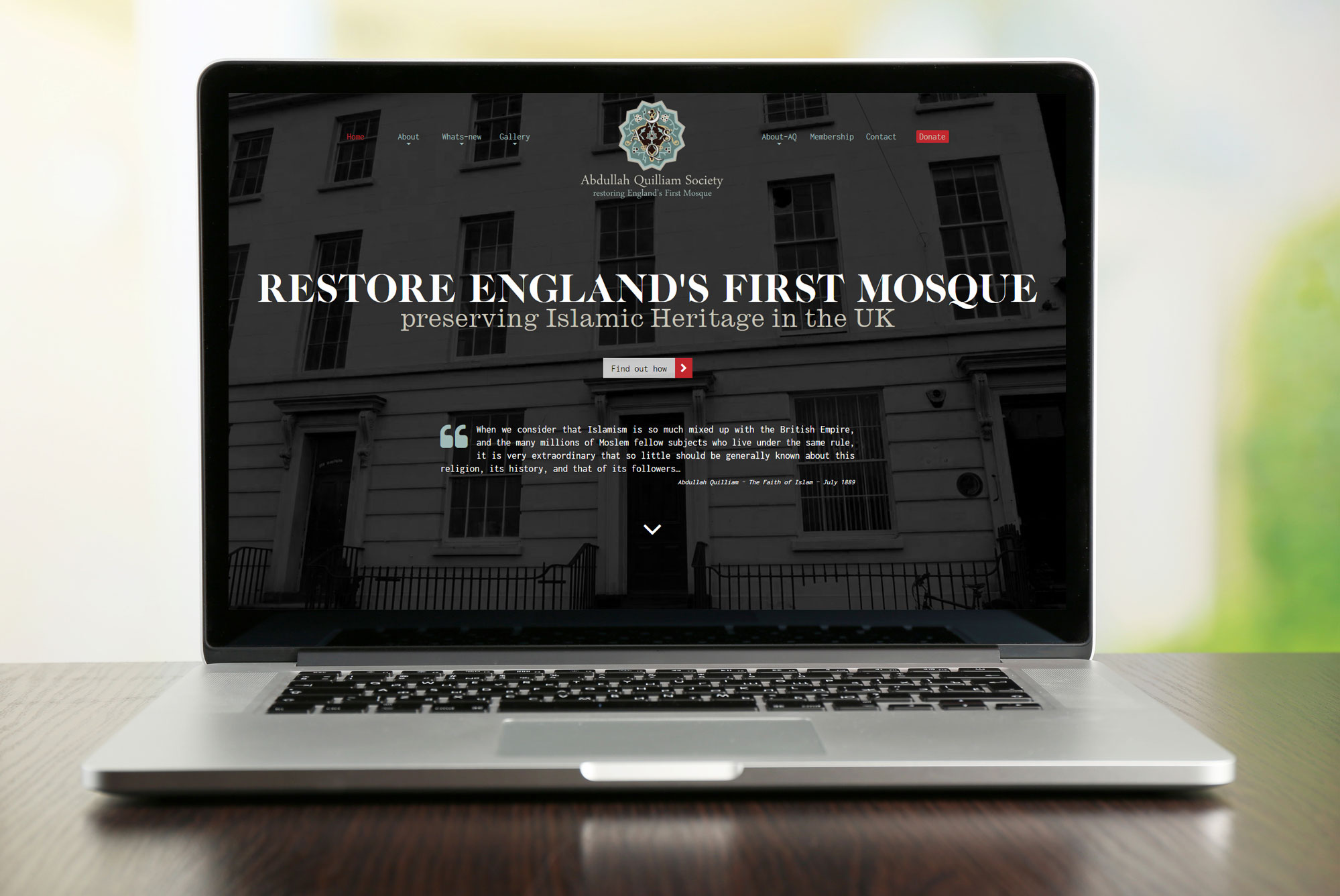 Screeshot of England's First Mosque website